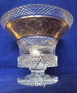Large Bohemian Crystal Cut Vase with Gilt Gold Cameo Frieze, Possibly Moser