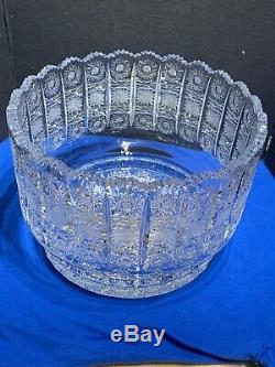 Large Bohemian Czech VTG Crystal 11-5/8 Bowl Cut Queen Lace Glass Centerpiece