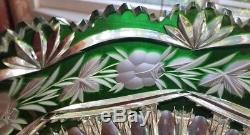 Large Cut to Clear Green Crystal Glass Bowl VTG Saw Tooth Edge Rose Flower 5lbs