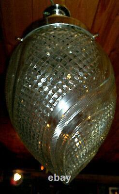 Large c1930 Art Deco Cut Crystal Glass Acorn Shade Ceiling Hall Light 15 Drop