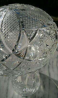 Large c1930 Art Deco Heavy Cut Crystal Glass Mushroom Table Lamp 13.5