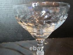 Laurel Wreath Deep Cut Leaf 11 Crystal Champagne Sherbet Goblets Diamond Stem