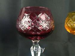 Lausitzer Crystal Cut to clear Set of 6 Multi Colored Wine Hocks Glasses
