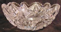 Libbey American Brilliant ABP Cut Glass Crystal Fruit Bowl Hobstars 9