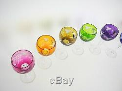 Lot Of 6 Bohemian Cut To Clear Crystal 7 3/8 Wine Goblets Glasses