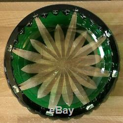 Lovely Vintage St Louis Emerald Green Cut to Clear Centerpiece Bowl