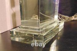 MCM Mid Century Heavy Crystal Cut Thick Glass Modern Decor Table Square Lamp