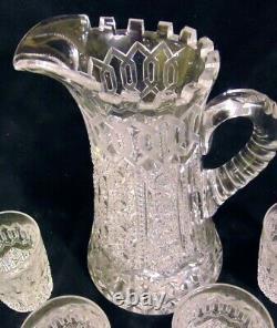 MERIDEN ALHAMBRA ABP Brilliant Cut Glass GLASS CRYSTAL Pitcher