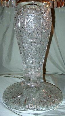 Magnificent Antique Huge Cut Glass Crystal Mushroom Shade Lamp with Prisms