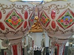 Mantel Lusters White Cut To Cranberry Bohemia Czechoslovakia Mrk 16crystal Prism