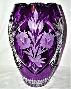 Massive Bohemian/Czech Crystal Vase Purple Amethyst Etched & Hand Cut
