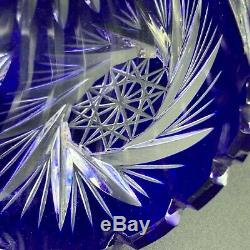 Mid Century Bohemian Czech Cobalt Blue Cut to Clear Crystal Vase Centerpiece