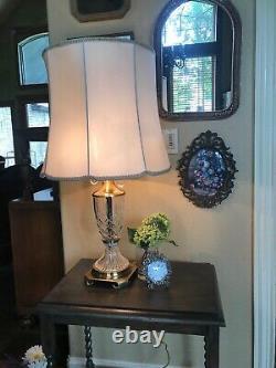 Mid Century Hollywood Regency Cut Crystal Brass Table Lamp Crystal Pulls