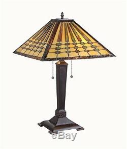 Mission Stained Cut Glass Arts & Crafts Design Tiffany Style Table Desk Lamp