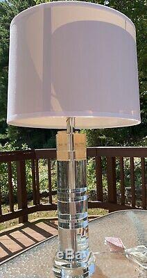 Modern Nwt Ralph Lauren Farrah Cut Crystal Column Lamp Silk Shade Outlet