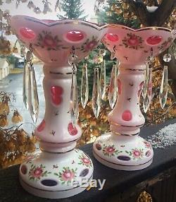 Moser Bohemian Czech Cut Cranberry Enamel Flower Crystal Mantle Luster Pair 9.5