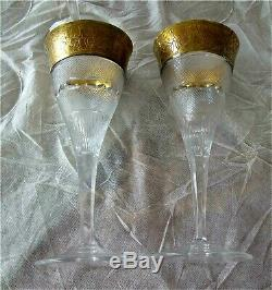 Moser Crystal Red Wine Glass Splendid Gold Hand Cut Signed Set of 8 $2800.00