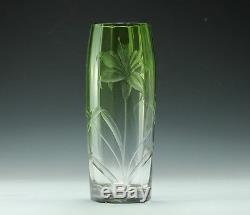 Moser Cut Crystal Vase Fades from Green to Clear Unsigned Reverse relief