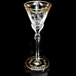 Moser PAULA Hand Cut Art Nouveau Crystal Cordial Gold Leaf Pattern, 5 1/4