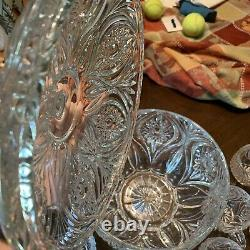 Nachtmann Cut Crystal Lidded Punch bowl With 12 punch cups Florenz Pattern