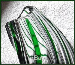 Nachtmann EMERALD GREEN Vase CUT TO CLEAR CASED LEAD CRYSTAL Swirls GERMANY