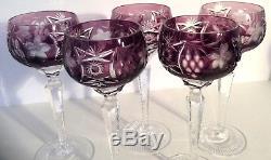 Nachtmann Traube Cut Clear Glass Crystal Purple Amethyst 5 Hock Wine 8 3/8