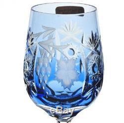 Nachtmann Traube Cut to Clear Crystal Azure Aqua Blue White Wine Balloon Goblet
