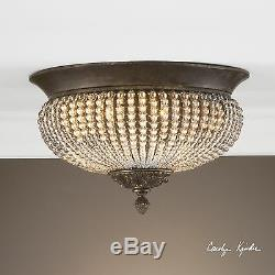 New Rows Of Cut Glass Beads Chandelier Flush Mount Light Aged Ceiling Chandelier