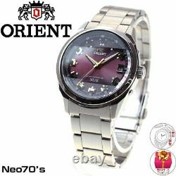ORIENT Neo 70's Watch WV0081SE Solar Radio Wave Controlled Red 3 Cut Glass Japan