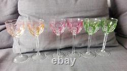 Old antique Moser Bohemian Czech Cut to Crystal Multicolor Set of 6 Wine Glasses