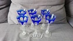 Old antique Moser Bohemian Czechoslovakia Cut to Crystal Set of 6 Wine Glasses