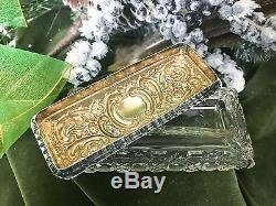 On Pins and Needles English Sterling Silver and Cut Crystal Pin Box