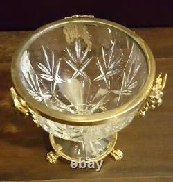 Ormolu French Cut Glass Crystal Bowl Bronze/Brass Rim Claw Foot Base