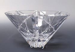 Orrefors Large Crystal Glass Bowl Cut Cross Panels 5 1/2H x 10W Signed Number