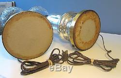 PAIR Hollywood Regency WARREN KESSLER MERCURY GLASS 36 Cut Crystal Table Lamps