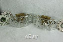 PAIR KINKELDEY faceted glass crystal cut 5 disc Sconces wall lights mid century