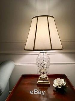 Pair 2 Exquisite Crystal Cut Glass Table Lamps Brilliant Cuts 30 High Excellent