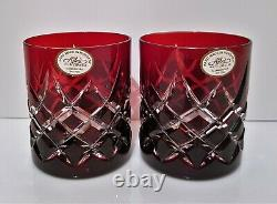 Pair Ajka Lismore Ruby Red Genuine Cased Cut To Clear Whiskey Glasses, New