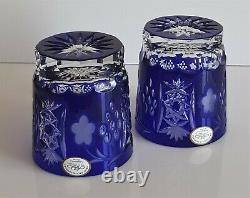 Pair Ajka Marsala Cobalt Blue Cased Cut To Clear Crystal Whiskey Glasses