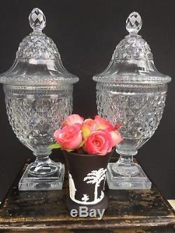 Pair Antique 18th Century Anglo Irish Cut Glass Crystal Chestnut Urns Jars Vases