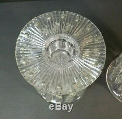 Pair Antique Cut Crystal 5.5 Mantle Lusters, Candlesticks with Prisms