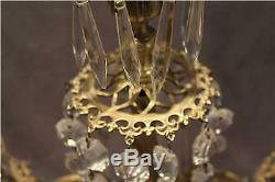 Pair Antique French Gilt Bronze Patina Candelabra with Cut Crystal Glass Prisms