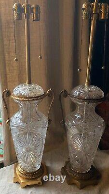 Pair Antique Vintage Marbro Heavy Cut Glass Crystal Urn Brass Table Lamps Mask