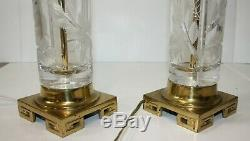 Pair Cut Glass Crystal Table Lamps on Brass Base Hollywood Regency