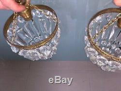 Pair Half Bag Cut Glass Crystal Drop Chandelier Gilt Frame Antique