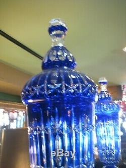 Pair Of Stunning Cobalt Cut-to-clear Bohemian Crystal Vases With Lids 56 High