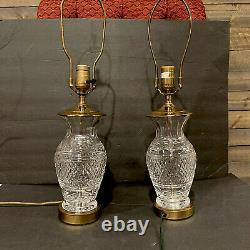 Pair Of Vintage Waterford Cut Crystal & Brass Lismore Table Lamp. 2 Lamps