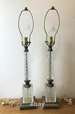 Pair Tall Antique Cut Crystal Glass Table Lamps Brass Banquet Hollywood Regency