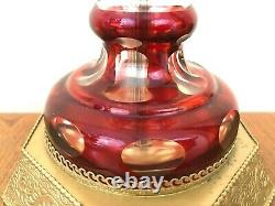 Pair VTG Bohemian Cut to Clear Ruby Red Crystal Glass Table Lamps Brass Base