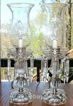 Pair Vintage Cut Glass Crystal Etched Parlor Table Lamps Prisms Boudoir Regency